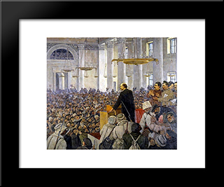 The First Speech Of Vladimir Lenin In The Smolny. Late Version Of The Picture In 1927: Modern Black Framed Art Print by Konstantin Yuon
