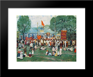 The Holiday Of Cooperation In Countryside: Modern Black Framed Art Print by Konstantin Yuon