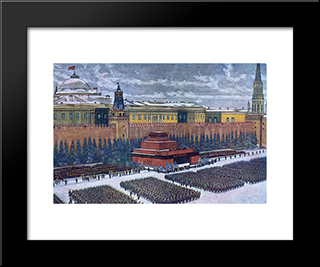 The Red Army On Parade In Red Square, Moscow, November 1940: Modern Black Framed Art Print by Konstantin Yuon