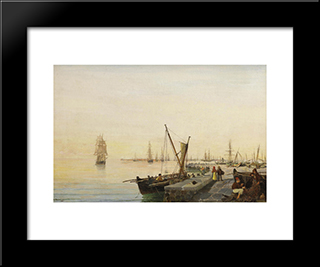 A Busy Harbour: Modern Black Framed Art Print by Konstantinos Volanakis