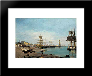 Admiring The Ships: Modern Black Framed Art Print by Konstantinos Volanakis