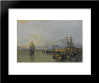 Along The Coast: Modern Black Framed Art Print by Konstantinos Volanakis