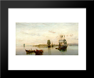 Anchored Boats: Modern Black Framed Art Print by Konstantinos Volanakis