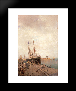 At The Dock: Modern Black Framed Art Print by Konstantinos Volanakis