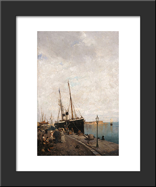 At The Jetty: Modern Black Framed Art Print by Konstantinos Volanakis