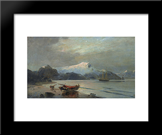 Bay With Boats: Modern Black Framed Art Print by Konstantinos Volanakis