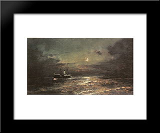 Boat At Moonlight: Modern Black Framed Art Print by Konstantinos Volanakis
