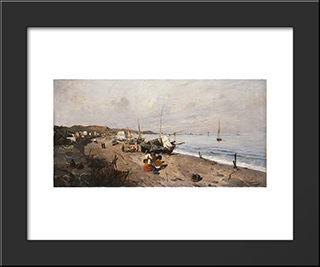 Boats And Children On The Beach: Modern Black Framed Art Print by Konstantinos Volanakis