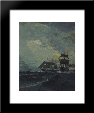 Boats At The Sea: Modern Black Framed Art Print by Konstantinos Volanakis