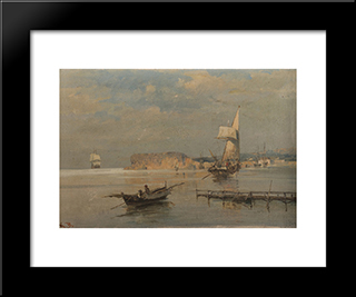 Boats In A Port: Modern Black Framed Art Print by Konstantinos Volanakis
