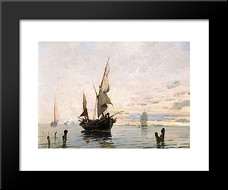 Bringing In The Catch: Modern Black Framed Art Print by Konstantinos Volanakis