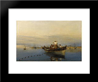 Casting The Nets: Modern Black Framed Art Print by Konstantinos Volanakis
