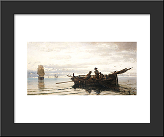 Collecting The Nets: Modern Black Framed Art Print by Konstantinos Volanakis