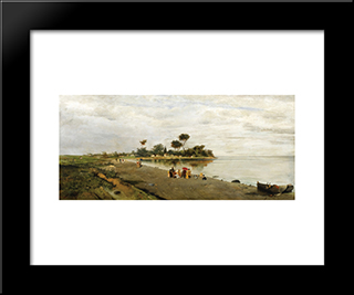 Elegant Figures At The Shore: Modern Black Framed Art Print by Konstantinos Volanakis