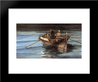 Fishing Boat: Modern Black Framed Art Print by Konstantinos Volanakis