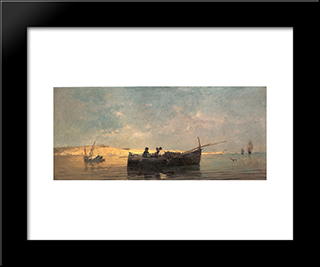 Fishing Boat At Dusk: Modern Black Framed Art Print by Konstantinos Volanakis