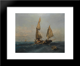 Fishing Boat In Choppy Waters: Modern Black Framed Art Print by Konstantinos Volanakis