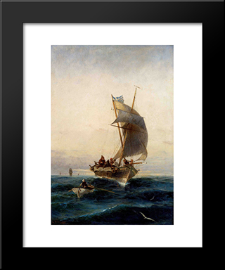 Fishing Boat On Choppy Waters: Modern Black Framed Art Print by Konstantinos Volanakis