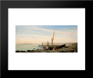 Fishing Boats: Modern Black Framed Art Print by Konstantinos Volanakis