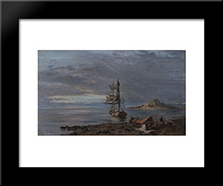 Greek Frigate At Anchor: Modern Black Framed Art Print by Konstantinos Volanakis