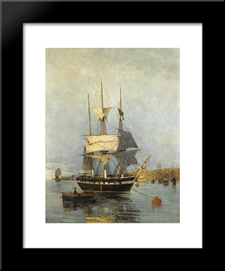 Greek Ship: Modern Black Framed Art Print by Konstantinos Volanakis