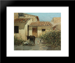 In The Garden: Modern Black Framed Art Print by Konstantinos Volanakis