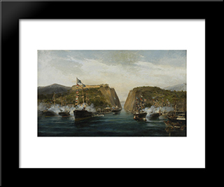 Inauguration Of Corinth Canal: Modern Black Framed Art Print by Konstantinos Volanakis