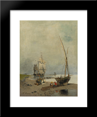 Mending The Nets: Modern Black Framed Art Print by Konstantinos Volanakis