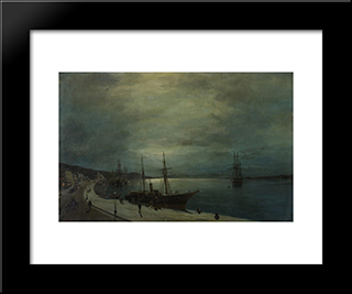 Moonlit Harbour: Modern Black Framed Art Print by Konstantinos Volanakis
