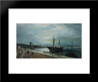 Moonlit Harbour Of Volos: Modern Black Framed Art Print by Konstantinos Volanakis