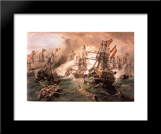Naval Battle At Lissa: Modern Black Framed Art Print by Konstantinos Volanakis