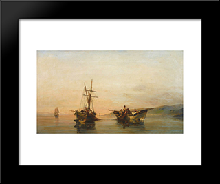 On Calm Waters: Modern Black Framed Art Print by Konstantinos Volanakis
