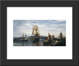 Outside The Harbor: Modern Black Framed Art Print by Konstantinos Volanakis