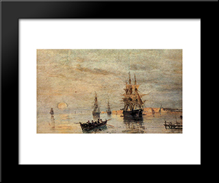 Sailing Ships At Dawn: Modern Black Framed Art Print by Konstantinos Volanakis