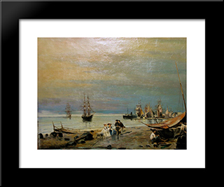 Seascape: Modern Black Framed Art Print by Konstantinos Volanakis