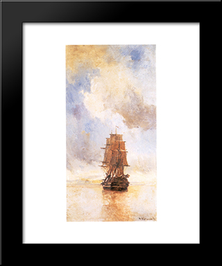 Ship: Modern Black Framed Art Print by Konstantinos Volanakis