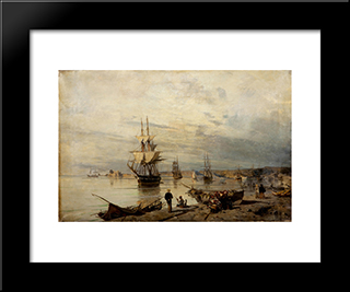 Sunset At The Seashore: Modern Black Framed Art Print by Konstantinos Volanakis