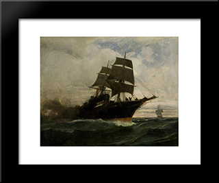 Surging Through The Seas: Modern Black Framed Art Print by Konstantinos Volanakis