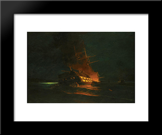 The Burning Of A Turkish Frigate: Modern Black Framed Art Print by Konstantinos Volanakis