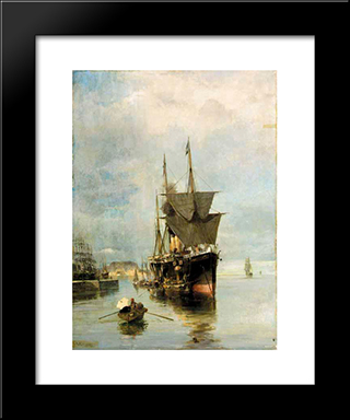The Disembarkation: Modern Black Framed Art Print by Konstantinos Volanakis