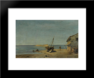 The Fisherman'S Home On The Beach: Modern Black Framed Art Print by Konstantinos Volanakis