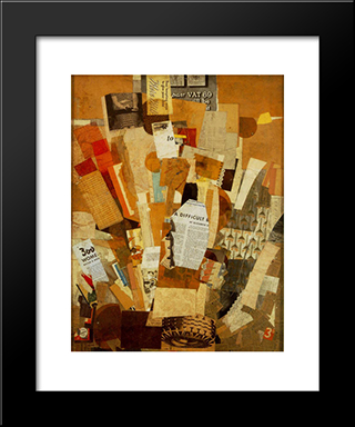 (Difficult): Modern Black Framed Art Print by Kurt Schwitters