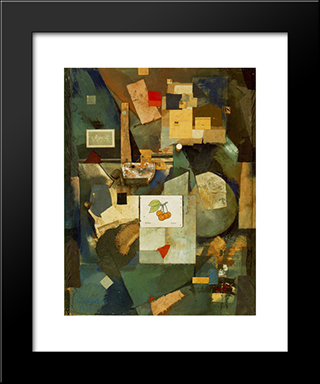 Cherry Picture: Modern Black Framed Art Print by Kurt Schwitters