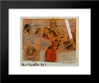 For Kate: Modern Black Framed Art Print by Kurt Schwitters