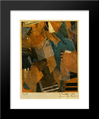 Forms In Space: Modern Black Framed Art Print by Kurt Schwitters