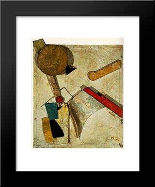 Heavy Relief: Modern Black Framed Art Print by Kurt Schwitters