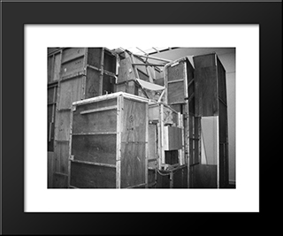 Merzbau Seen From The Outside: Modern Black Framed Art Print by Kurt Schwitters