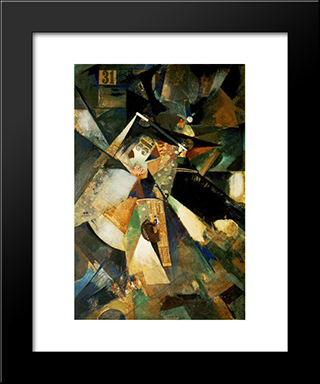 Merzpicture Thirty-One: Modern Black Framed Art Print by Kurt Schwitters