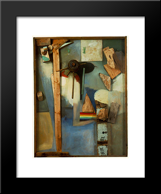 Merzpicture With Rainbow: Modern Black Framed Art Print by Kurt Schwitters