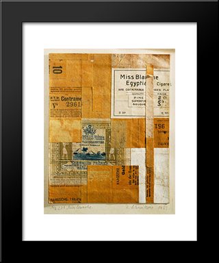 Mz 231. Miss Blanche: Modern Black Framed Art Print by Kurt Schwitters